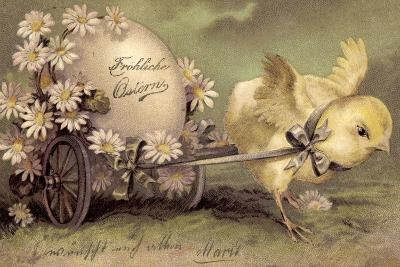 Glückwunsch Ostern, Küken Mit Osterei, Gänseblümchen--Giclee Print