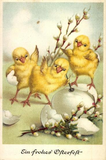 Glückwunsch Ostern, Küken Mit Weidenkätzchen--Giclee Print