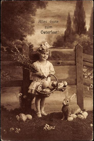 Glückwunsch Ostern, Mädchen Mit Weidenkätzen, Hase--Giclee Print