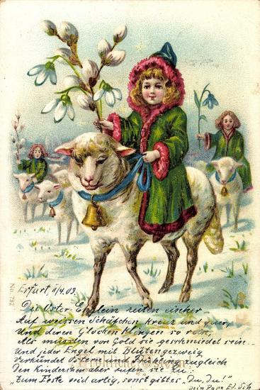 Glückwunsch Ostern, Mädchen Reitet Auf Einem Schaf--Giclee Print