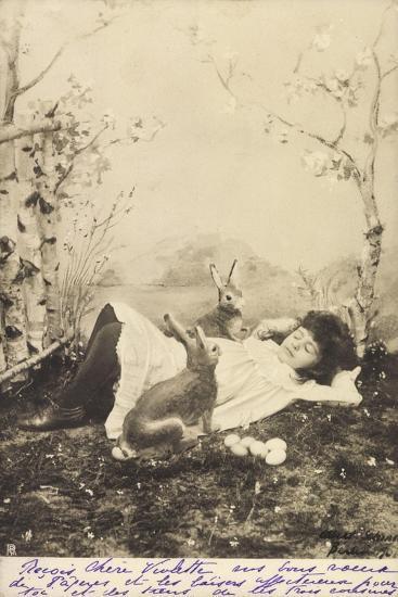 Glückwunsch Ostern, Mädchen Schlafend Mit Hasen--Giclee Print