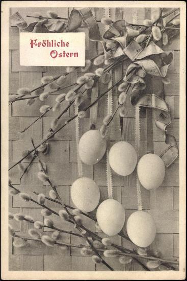 Glückwunsch Ostern, Ostereier an Weidenkätzchen--Giclee Print