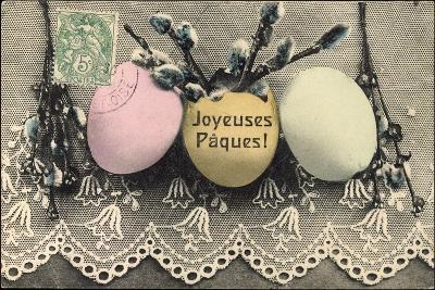 Glückwunsch Ostern, Weidenkätzchen, Ostereier--Giclee Print