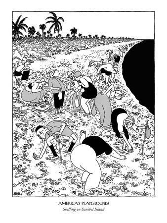 Elderly tourists bent over stiffly, to look for shells in the sand. - New Yorker Cartoon