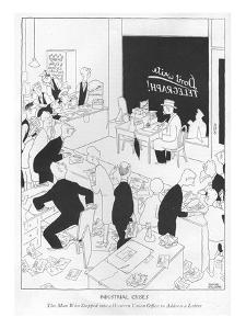 Industrial Crises-The Man Who Stepped into a Western Union Of?ce to Addres? - New Yorker Cartoon by Gluyas Williams