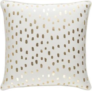 Glyph 18 x 18 Down Fill Pillow - Ivory/Gold