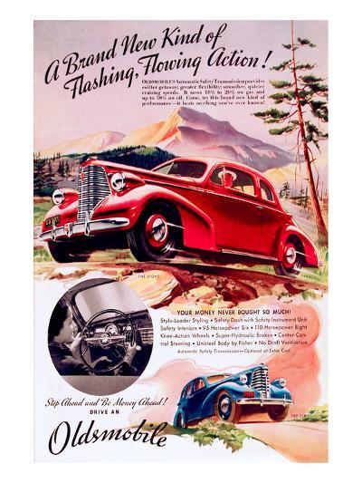 GM Oldsmobile - Flowing Action--Art Print