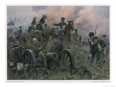 Gneisenau at the Battle of Ligny Where Napoleon Defeats Blucher's Prussians-R Knoetel-Giclee Print