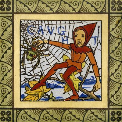 Gnome Trapped in Spider's Web, Decorative Tiles from Life of Gnomes Series, Ceramic, England--Giclee Print