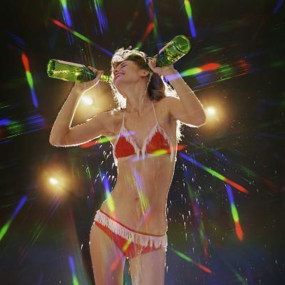 Go Go Dancer Pouring Water on Herself-Dennis Hallinan-Photographic Print