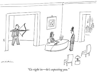 """""""Go right in?he's expecting you."""" - New Yorker Cartoon-Michael Maslin-Premium Giclee Print"""
