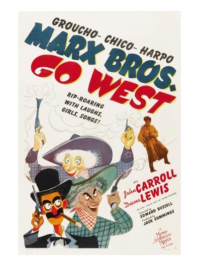 Go West, Groucho Marx, Harpo Marx, Chico Marx, Diana Lewis, 1940--Photo