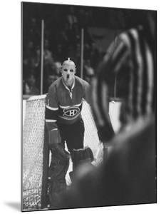 Goalie Jacques Plante Wearing Mask to Protect Face from Injuries, During Game