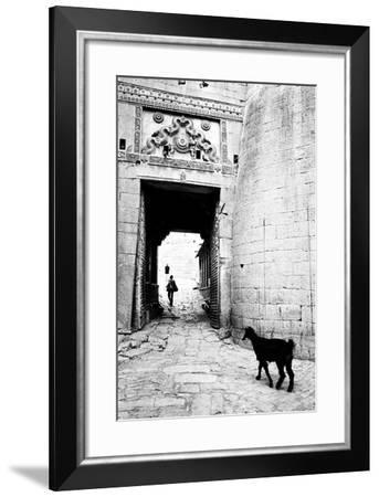 Goat and Man, Fort Entrance Gate, Jaisalmer, Rajasthan, India, 1984--Framed Photographic Print