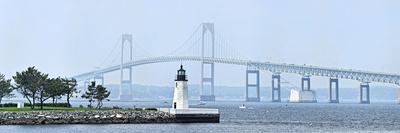 Goat Island Lighthouse with Claiborne Pell Bridge in the Background, Newport, Rhode Island, USA--Photographic Print