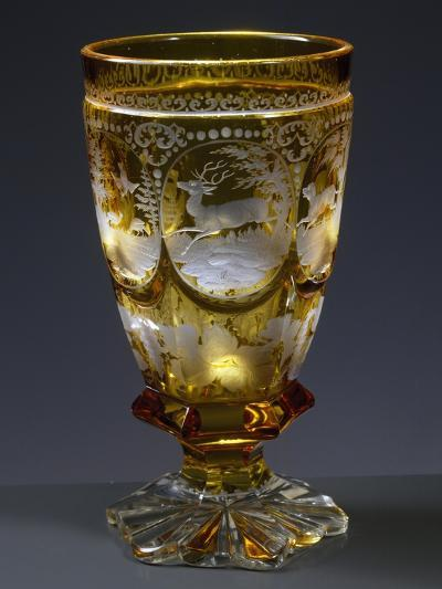 Goblet with Hunting Subject in Coloured Uranium Glass--Giclee Print