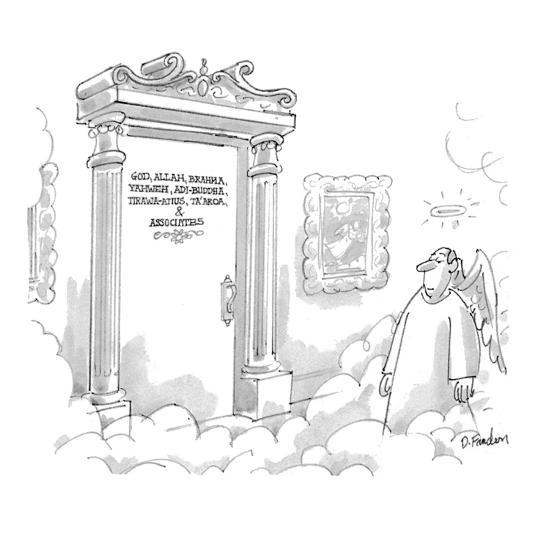 God, Allah, Brahma, Yahweh, Adi-Buddha, Tirawa-Atius, Ta'aroa, & Associates - New Yorker Cartoon-Dana Fradon-Premium Giclee Print