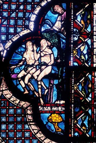 God Confronts Adam and Eve, Stained Glass, Chartres Cathedral, France, 1205-1215--Photographic Print