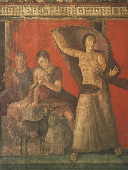 God Pan with Pipe and Female Panisk with Deer, Fresco, Villa of the Mysteries, Pompeii, Italy--Giclee Print