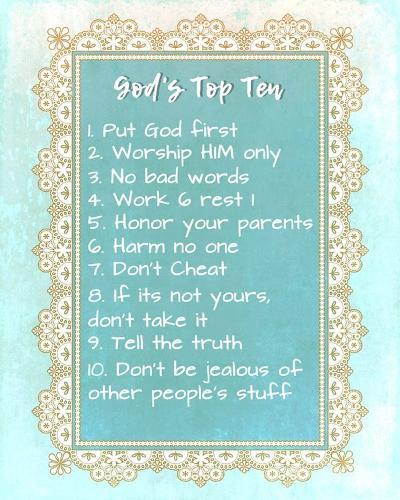 God's Top Ten Blue and Gold Design-Inspire Me-Art Print