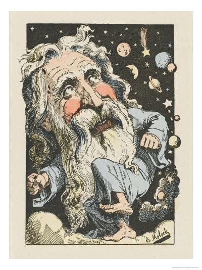 God Surrounded by Stars and Planets- Moloch-Giclee Print