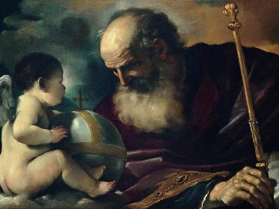 God the Father and Angel, 1620-Guercino-Giclee Print