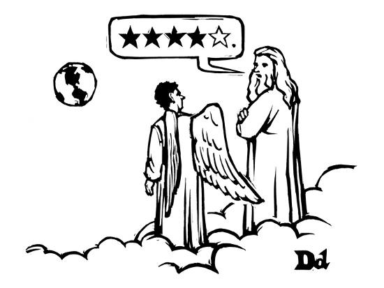 God to an angel on a cloud overlooking earth. God's speech bubble contains? - New Yorker Cartoon-Drew Dernavich-Premium Giclee Print