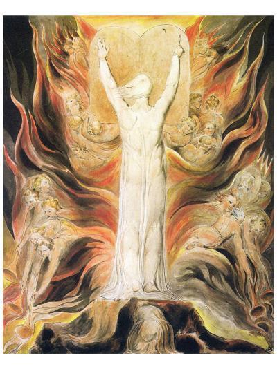 God Writing the Commandments Boards-William Blake-Premium Giclee Print