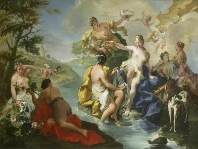 Goddess Diana and Nymphs and Actaeon Torn to Pieces by His Hounds or Dogs-Giovanni Battista Pittoni-Giclee Print