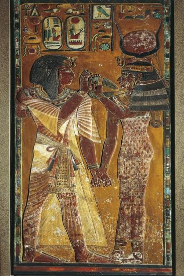 Goddess Hathor Offers Her Necklace to the Pharaoh--Giclee Print
