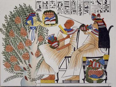 Goddess Nepte Leaving Mystical Tree to Give Drink to Deceased, Copy of Theban Fresco--Giclee Print