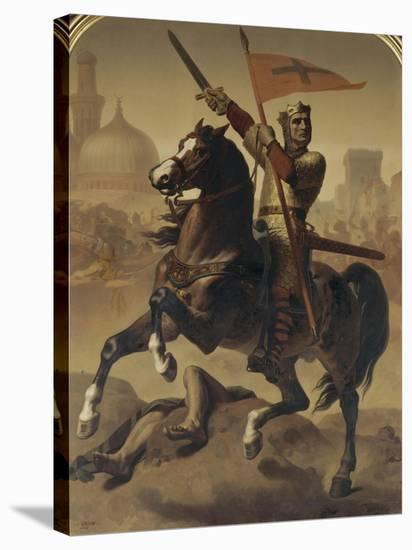 """Godefroy de Bouillon, duc de Basse-Lorraine, élu """"Avoué du Saint Sépulcre de Jérusalem"""" en 1099-Emile Signol-Stretched Canvas Print"""