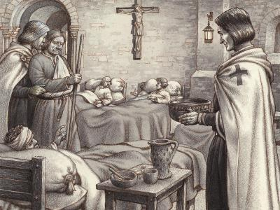 Godfrey De Bouillon Watches Benedictine Monks Caring for the Wounded-Pat Nicolle-Giclee Print