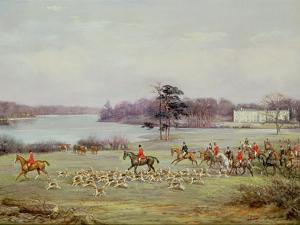 The South Cheshire Hunt in Combermere Park, 1904 by Godfrey Douglas Giles