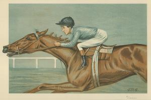 Tod Sloan, an American Jockey, 25 May 1899, Vanity Fair Cartoon by Godfrey Douglas Giles