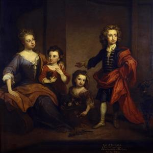Portrait of Richard Boyle, 3rd Earl of Burlington, with His Three Sisters, Elizabeth, Juliana and… by Godfrey Kneller