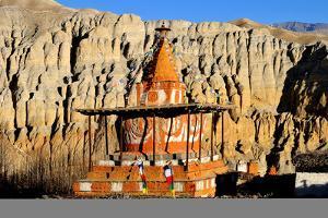 Buddhist stupa (chorten) near Tsarang village, Mustang, Nepal, Himalayas, Asia by Godong