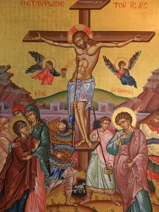 Greek Orthodox Icon Depicting Jesus' Crucifixion, Thessalonica, Macedonia, Greece, Europe by Godong
