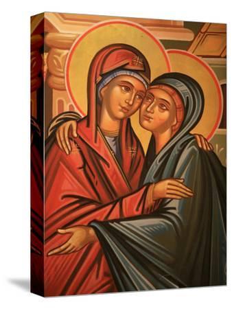Greek Orthodox Icon Depicting the Visitation, Thessaloniki, Macedonia, Greece, Europe