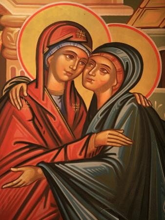 Greek Orthodox Icon Depicting the Visitation, Thessaloniki, Macedonia, Greece, Europe by Godong