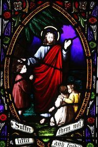 Jesus blessing the children, 19th century stained glass in St. John's Anglican church, Sydney by Godong