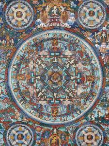 Mandala on a Tibetan Thangka, Bhaktapur, Nepal, Asia by Godong