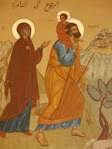 Melkite Icon of the Holy Family Returning to Nazareth, Nazareth, Galilee, Israel, Middle East by Godong