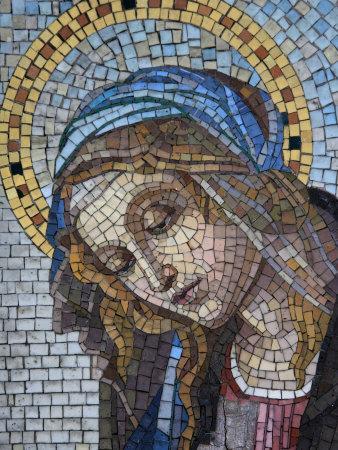 Mosaic of the Virgin Mary, Milano Monumental Cemetery, Milan, Lombardy, Italy, Europe