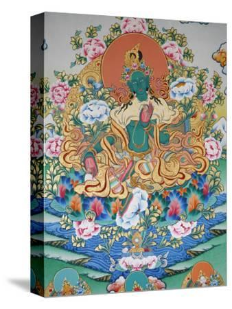 Painting of Green Tara, Buddhist Symbol of Prosperity, Kopan Monastery, Kathmandu, Nepal, Asia