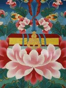 Painting of Lotus Flower, Sword of Knowledge and Sacred Text, Kopan Monastery, Kathmandu by Godong