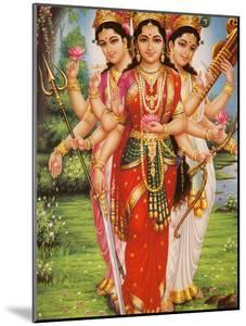 Picture of Hindu Goddesses Parvati, Lakshmi and Saraswati, India, Asia by Godong