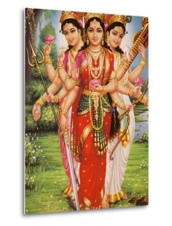 Picture of Hindu Goddesses Parvati, Lakshmi and Saraswati, India, Asia