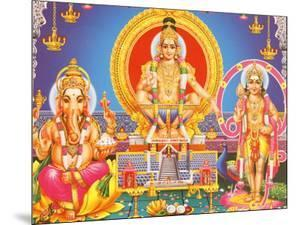 Picture of Hindu Gods Ganesh, Ayappa and Subramania, India, Asia by Godong
