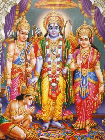Picture of Hindu Gods Laksman, Rama, Sita and Hanuman, India, Asia by Godong